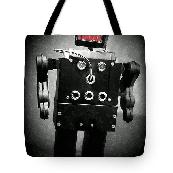 Dark Metal Robot Oil Tote Bag by Edward Fielding