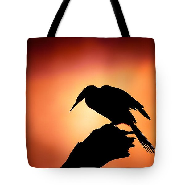 Darter Silhouette With Misty Sunrise Tote Bag by Johan Swanepoel