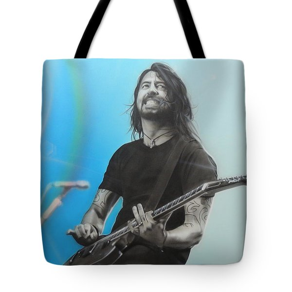 'Dave Grohl' Tote Bag by Christian Chapman Art