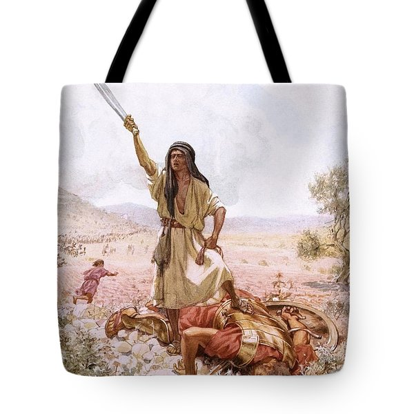David And Goliath Tote Bag by William Brassey Hole