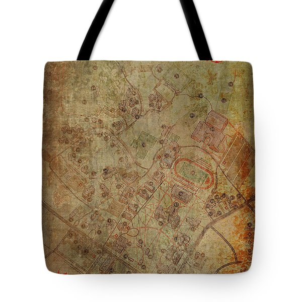 Davidson College Map Tote Bag by Paulette B Wright