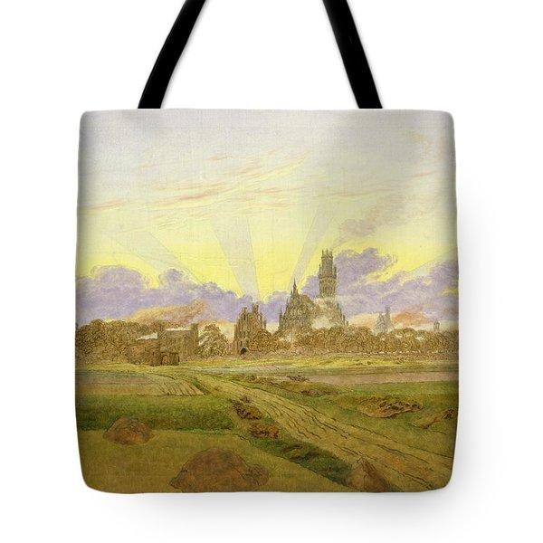 Dawn At Neubrandenburg Tote Bag by Caspar David Friedrich
