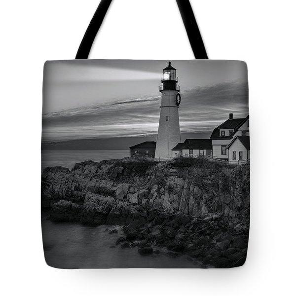 Dawn At Portland Head Light BW Tote Bag by Susan Candelario