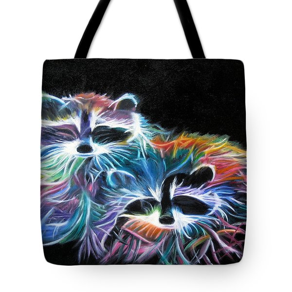 Dayglow Raccoons Tote Bag by LaVonne Hand