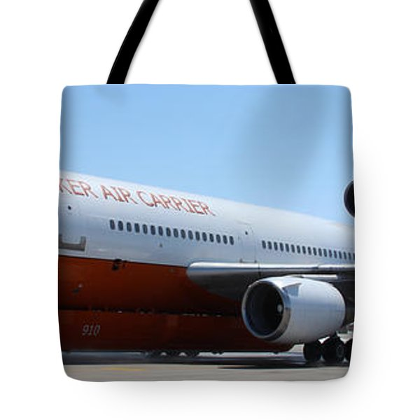 Tote Bag featuring the photograph Dc-10 Air Tanker At Rapid City by Bill Gabbert