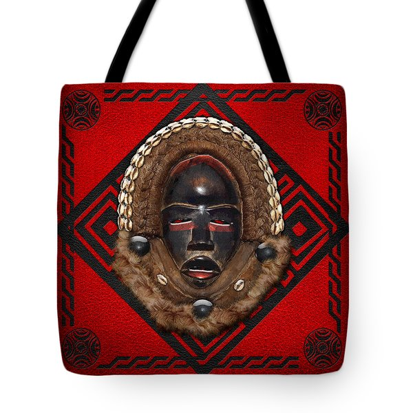 Dean Gle Mask by Dan People of the Ivory Coast and Liberia on Red Leather Tote Bag by Serge Averbukh