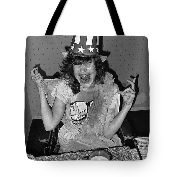 Debbie C. celebrating July 4th Lincoln Gardens Tucson Arizona 1990 Tote Bag by David Lee Guss