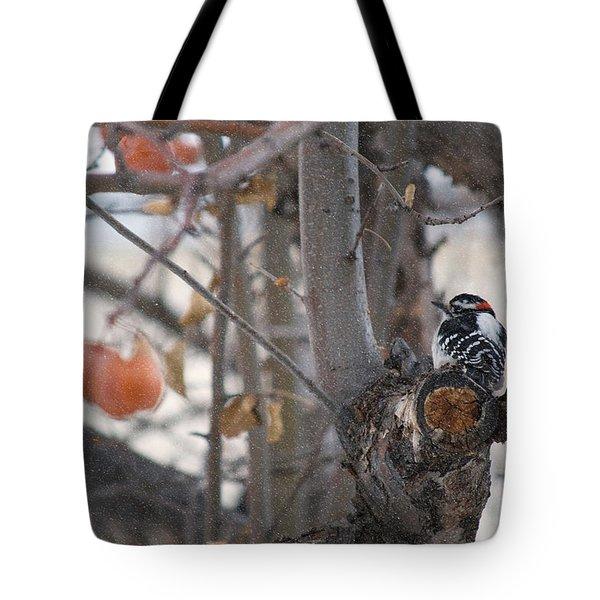 December Snow Tote Bag by Lisa Knechtel