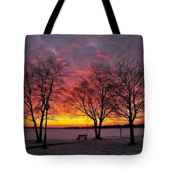 December Sunset Tote Bag by Terri Gostola