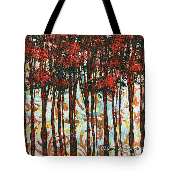 Decorative Abstract Floral Bird Landscape Painting Forest Of Dreams II By Megan Duncanson Tote Bag by Megan Duncanson