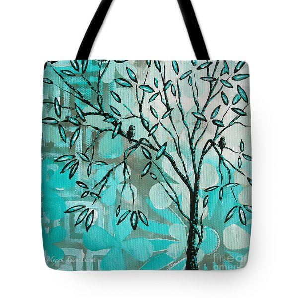 Decorative Abstract Floral Birds Landscape Painting Bird Haven I by Megan Duncanson Tote Bag by Megan Duncanson