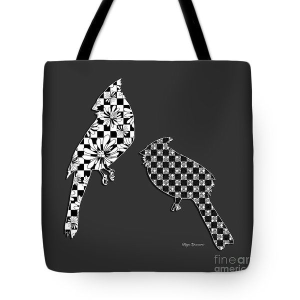 Decorative Abstract Floral Checkered Birds Decorative Design by Megan Duncanson Tote Bag by Megan Duncanson