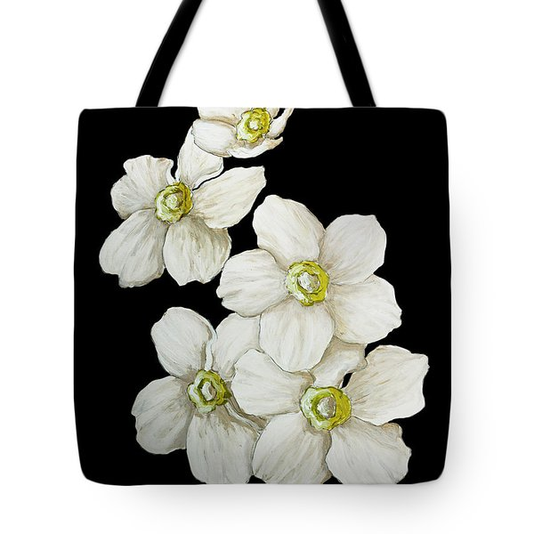 Decorative White Floral Flowers Art Original Chic Painting Madart Studios Tote Bag by Megan Duncanson