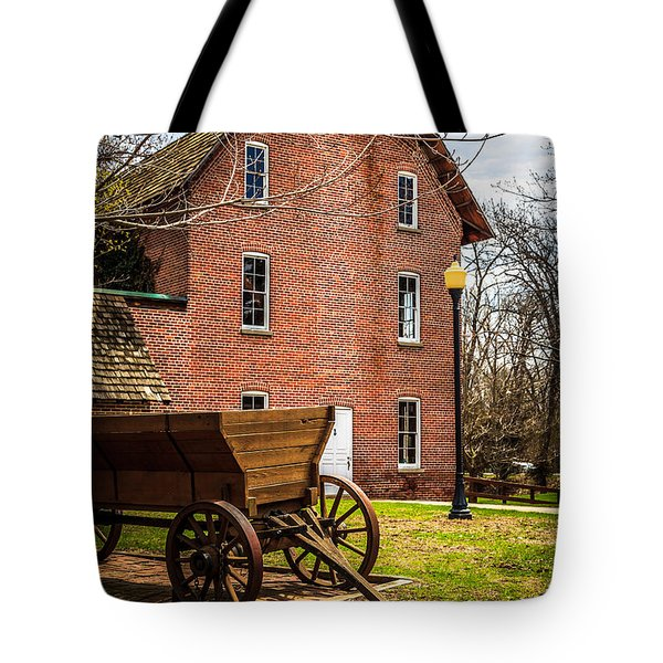 Deep River Wood's Grist Mill and Wagon Tote Bag by Paul Velgos