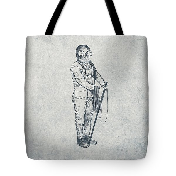 Deep Sea Diver - Nautical Design Tote Bag by World Art Prints And Designs