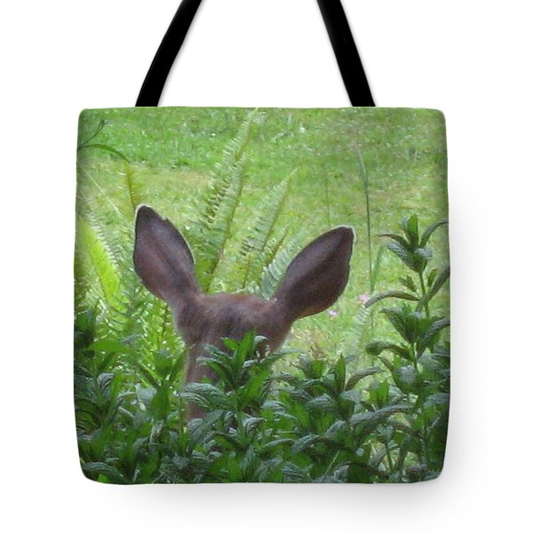 Deer Ear In A Mint Patch Tote Bag by Kym Backland