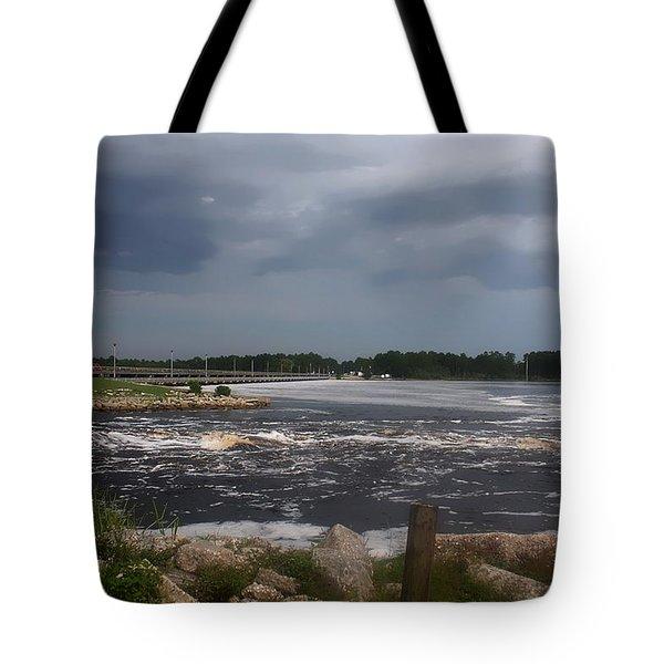 Deer Point Dam Tote Bag by Debra Forand