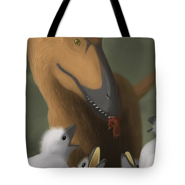 Deinonychus Dinosaur Feeding Its Young Tote Bag by Michele Dessi