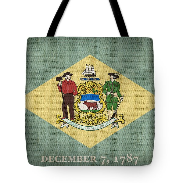 Delaware State Flag Tote Bag by Pixel Chimp