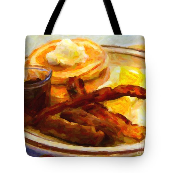 Denny's Grand Slam Breakfast - Painterly Tote Bag by Wingsdomain Art and Photography