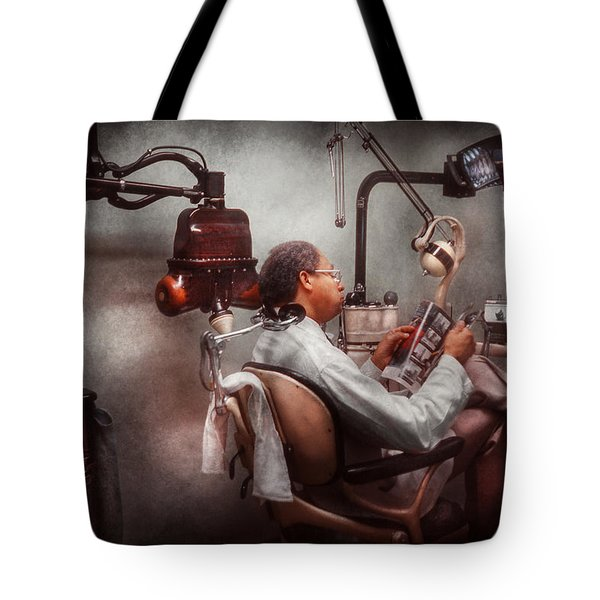 Dentist - Waiting For The Dentist Tote Bag by Mike Savad
