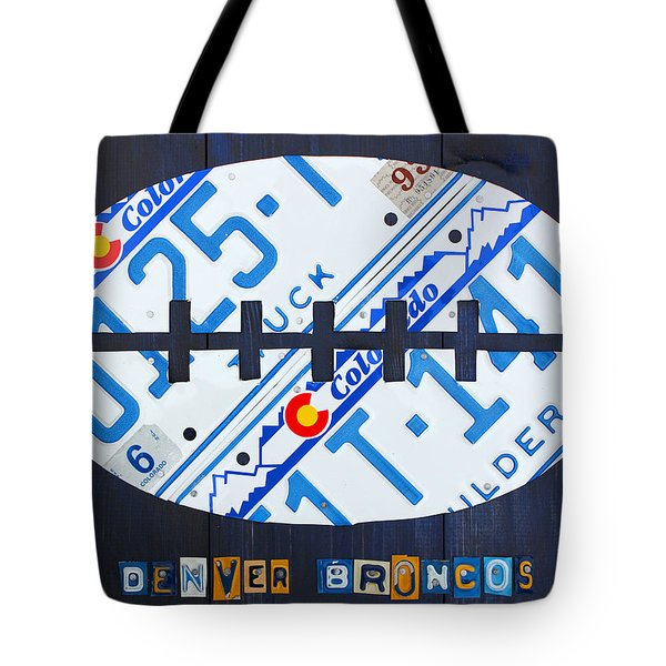 Denver Broncos Football License Plate Art Tote Bag by Design Turnpike