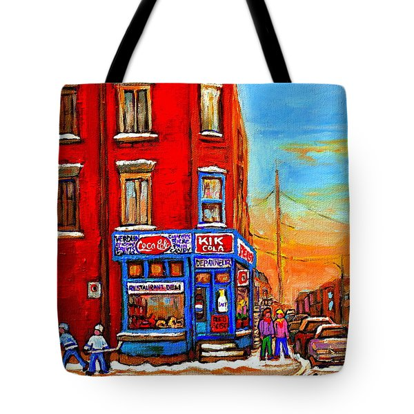 Depanneur Marche Fruits Verdun Restaurant Smoked Meat Deli  Montreal Winter Scene Paintings  Hockey Tote Bag by Carole Spandau