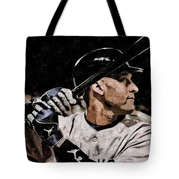 Derek Jeter On Canvas Tote Bag by Florian Rodarte