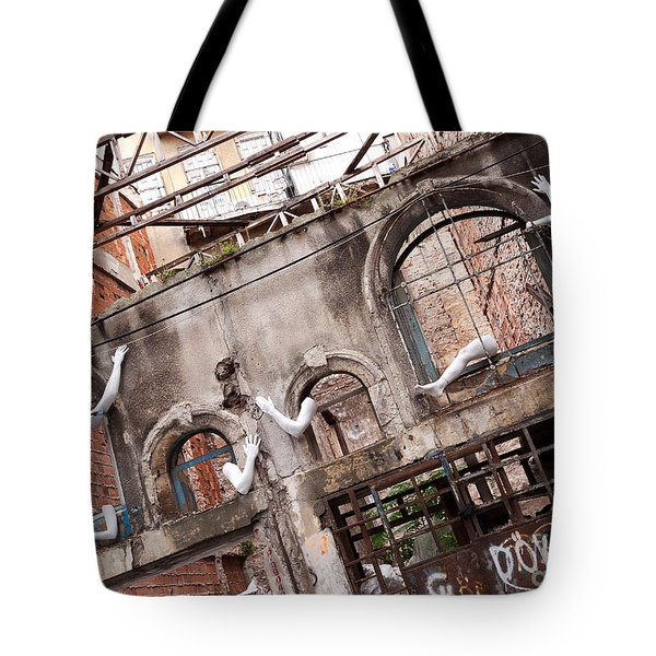 Derelict Wall Of Lost Limbs 01 Tote Bag by Rick Piper Photography