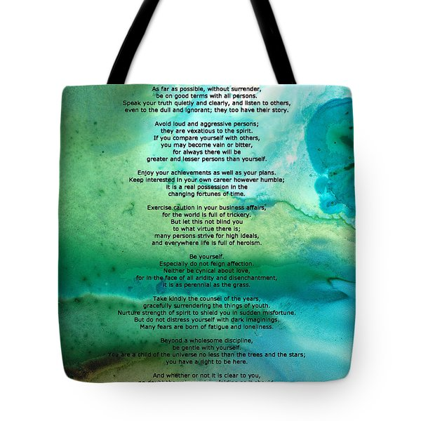 Desiderata 2 - Words of Wisdom Tote Bag by Sharon Cummings