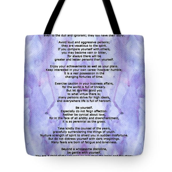 Desiderata 3 - Words Of Wisdom Tote Bag by Sharon Cummings