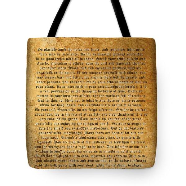 Desiderata Tote Bag by Kurt Van Wagner