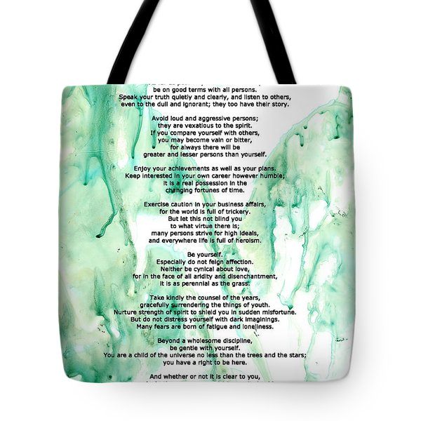 Desiderata - Words of Wisdom Tote Bag by Sharon Cummings