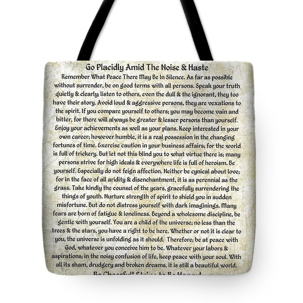 Desiderta Poem On Tuscan Marble Tote Bag by Desiderata Gallery