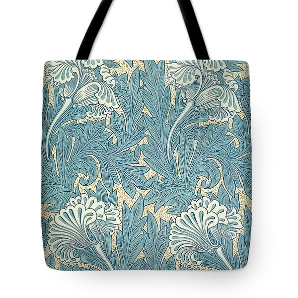 Design In Turquoise Tote Bag by William Morris