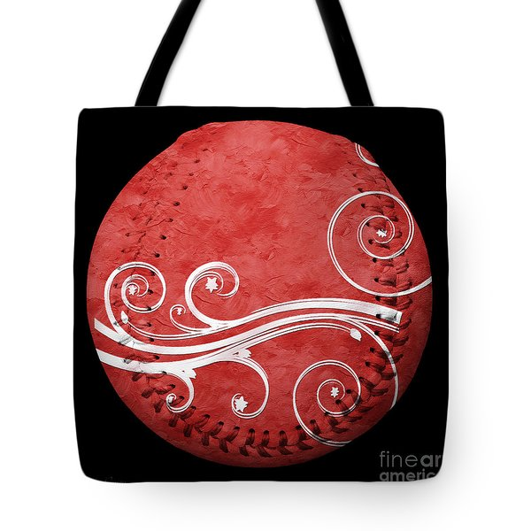 Designer Red Baseball Square Tote Bag by Andee Design