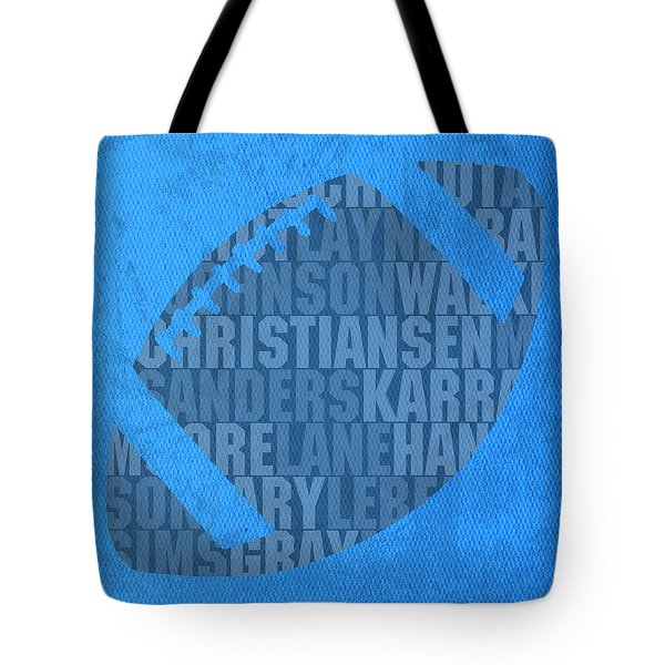 Detroit Lions Football Team Typography Famous Player Names On Canvas Tote Bag by Design Turnpike
