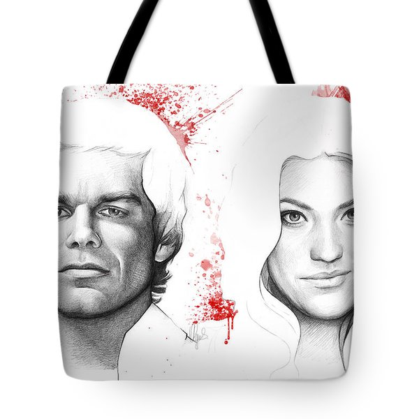 Dexter and Debra Morgan Tote Bag by Olga Shvartsur