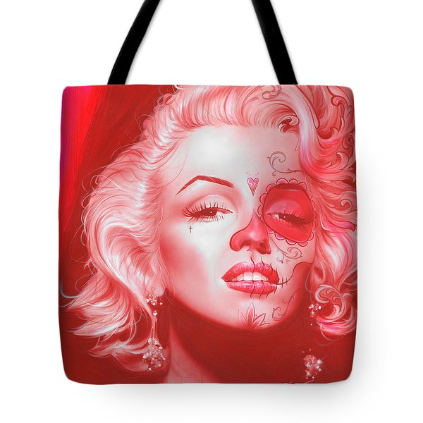 Marilyn Monroe - ' Dia De Los Monroe ' Tote Bag by Christian Chapman Art