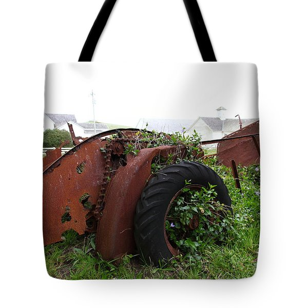 Dilapidated Farm Tractor At The Old Pierce Point Ranch In Foggy Point Reyes California 5D28120 Tote Bag by Wingsdomain Art and Photography