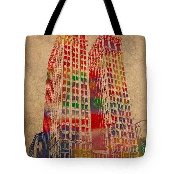 Dime Building Iconic Buildings of Detroit Watercolor on Worn Canvas Series Number 1 Tote Bag by Design Turnpike