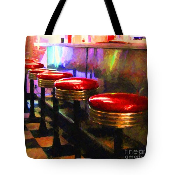 Diner - v2 - square Tote Bag by Wingsdomain Art and Photography