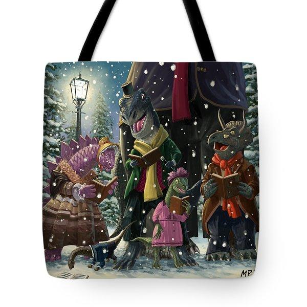 Dinosaur Carol Singers Tote Bag by Martin Davey