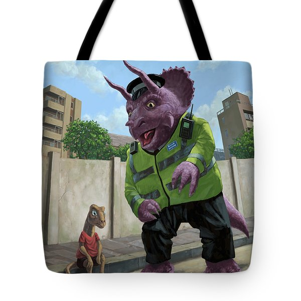 Dinosaur Community Policeman Helping Youngster Tote Bag by Martin Davey