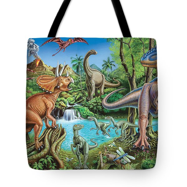 Dinosaur Waterfall Tote Bag by Mark Gregory