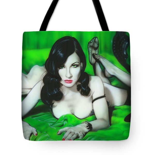 'dita Von Teese' Tote Bag by Christian Chapman Art