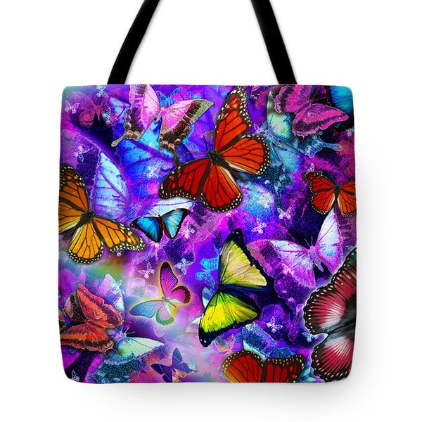 Dizzy Colored Butterfly Explosion Tote Bag by Alixandra Mullins