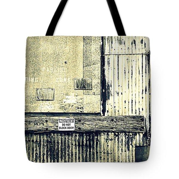 Do Not Block Door Tote Bag by Valentino Visentini