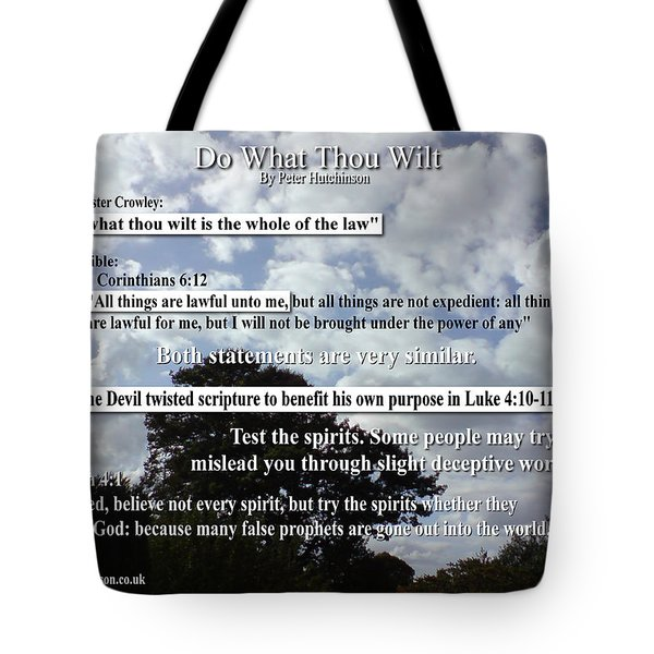 Do What Thou Wilt Tote Bag by Bible Verse Pictures