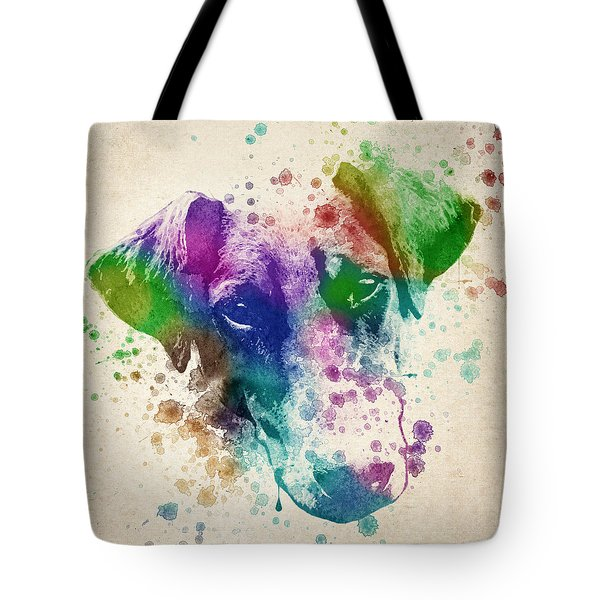 Doberman Splash Tote Bag by Aged Pixel